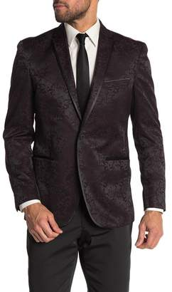 Kenneth Cole Reaction Burgundy Floral Two Button Notch Lapel Evening Jacket