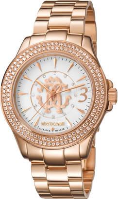 Roberto Cavalli By Franck Muller 37.5mm Pave Crystal Rose Golden Stainless Steel Bracelet Watch