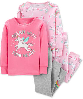 Carter's Carter Baby Girls 4-Pc. Unicorn-Print Cotton Pajamas Set