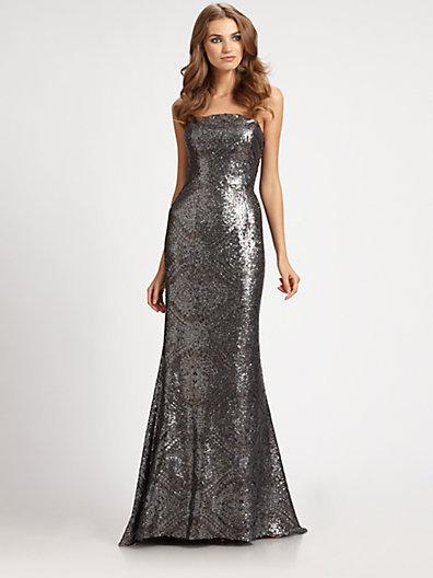 ML Monique Lhuillier Strapless Sequined Gown