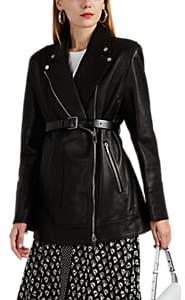 Women's Leather Belted Moto Jacket - Black