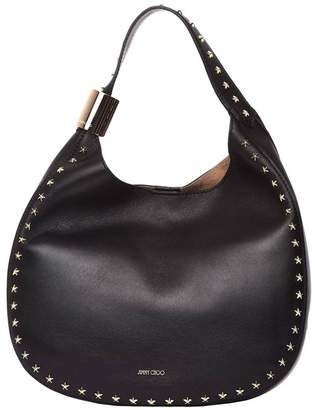 Jimmy Choo Crossbody Bags Stevie Hobo Bag In Smooth Nappa Leather With Maxi Metal Ring And Star Studs