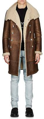 Balmain Men's Shearling Double-Breasted Coat - Beige, Tan