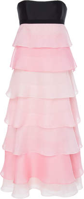 Carolina Herrera Tie-Back Tiered Ruffle Silk-Organza Midi Dress
