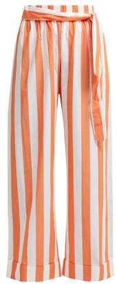 Mara Hoffman Sasha Wide Leg Striped Cotton Trousers - Womens - Orange White