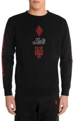 Marcelo Burlon County of Milan Men's NY Mets Crewneck Sweatshirt - Black Orange - Size XL