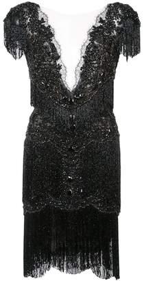 Marchesa embellished fringed mini dress