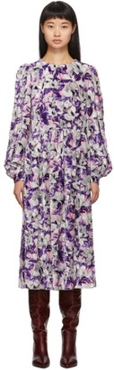 Marc Jacobs Purple Blouson Sleeve Flair Dress
