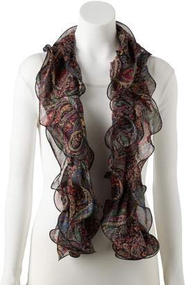 Chaps Women's Double Paisley Plaid Ruffled Oblong Scarf