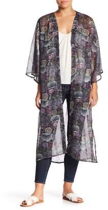 Steve Madden Floral Print Sheer Kimono