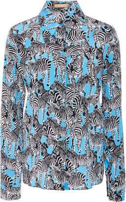 Michael Kors Zebra-Print Silk Crepe de Chine Shirt