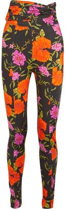 Balenciaga - Floral-print Stretch-satin Skinny Pants - Black