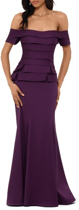 Xscape Evenings Off the Shoulder Mikado Evening Gown