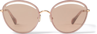 Jimmy Choo MALYA Copper Gold Oval Sunglasses with Pink Lame Glitter