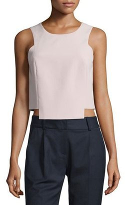 Milly Sleeveless Seamed Stretch-Cady Shell, Petal $230 thestylecure.com