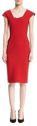 Roland Mouret Hirta Cap-Sleeve Square-Neck Sheath Dress, Red $1,435 thestylecure.com