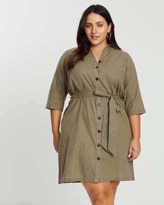 3/4 Sleeve Linen-Feel Shirt Dress