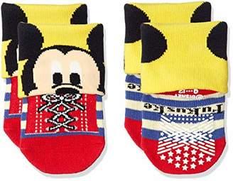 Disney (ディズニー) - [ディズニー] ミッキー&ミニー すべり止め付 折り返しソックス 2足組 キッズ ミニー×ピンク×ブルー 09(9~12cm)