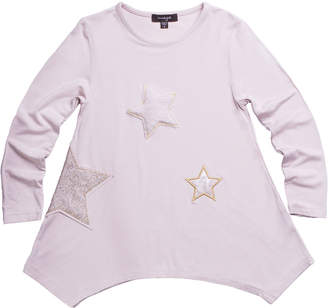 Imoga Jersey-Stretch Tunic w/ Faux-Fur & Sequin Star Patches, Size 8-14