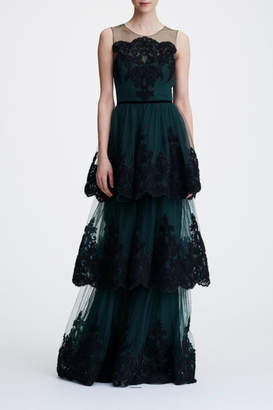Marchesa Sleeveless Tiered Gown