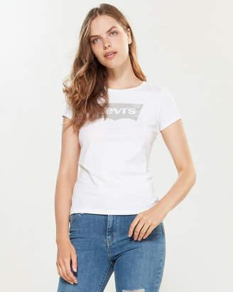 Levi's Short Sleeve Glitter Logo Slim Tee