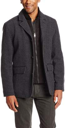 Andrew Marc Men's Harrison Wool Jacket with Micro Suede Bib