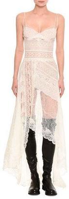Ermanno Scervino Mixed-Lace Asymmetric-Hem Gown $5,945 thestylecure.com