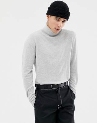 Jack and Jones Knitted Roll Neck With Contrast Cuff Tipping