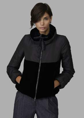 Giorgio Armani Technical Fabric Peacoat With Padded Collar And Velvet Details