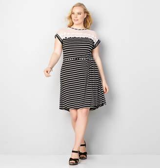 Avenue Hi Lo Mesh A-Line Dress