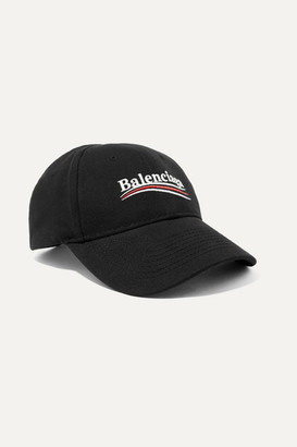 Balenciaga Embroidered Cotton-twill Baseball Cap - Black