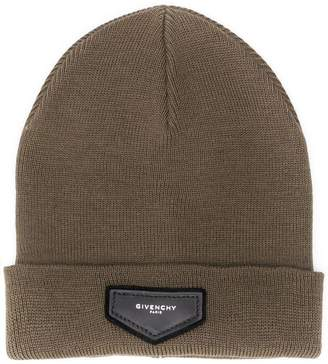 Givenchy logo patch beanie