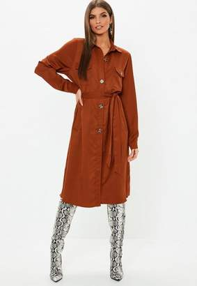 Missguided Rust Tie Waist Utility Shirt Dress