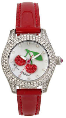 Betsey Johnson Cherry Motif Dial Stainless Steel Red Leather Strap Watch