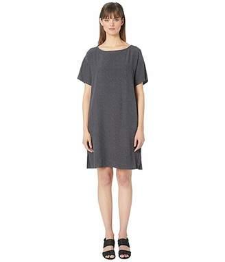 Eileen Fisher Morse Code Tencel Viscose Bateau Neck Short Sleeve Knee Length Dress