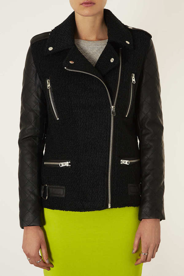 Topshop Longline Leather-look Wool Biker
