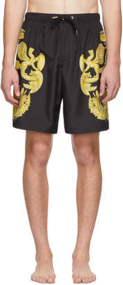 Versace Underwear Black Barocco Print Swimsuit