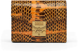 MCM Patricia Exotic Accordion Card Wallet In Enamel Snake Leather