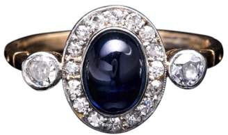 Platinum Art Deco 1.29ct Cabochon Cut Sapphire and 0.26ct Diamond Ring Size 5