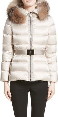 Moncler Tatie Belted Down Puffer Coat with Removable Genuine Fox Fur Trim