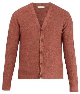 Etro - V Neck Honeycomb Knit Cotton Blend Cardigan - Mens - Orange