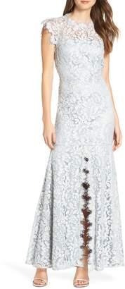 Eliza J Front Slit Lace Trumpet Evening Dress