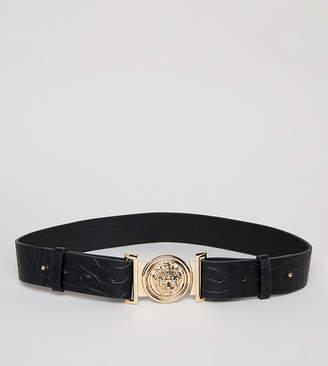 My Accessories faux croc clip buckle belt