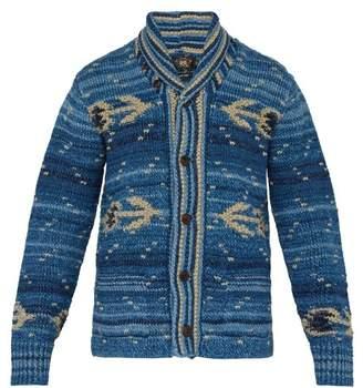 Rrl - Intarsia Knit Cardigan - Mens - Blue Multi