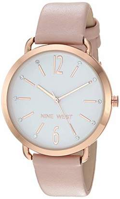 Nine West Women's NW/2204RGPK Crystal Accented Rose Gold-Tone and Pink Strap Watch