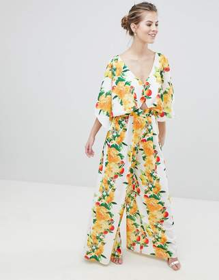 Asos Design Kimono Jumpsuit With Wide Leg In Fruit Print