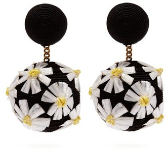 Rebecca De Ravenel Forget Me Not Cord Clip Earrings - Womens - Black