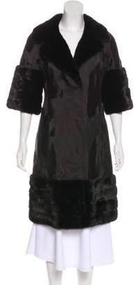 J. Mendel Fur-Trimmed Satin Coat