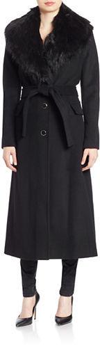 Calvin KleinCalvin Klein Faux Fur Collar Wool-Blend Maxi Coat