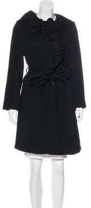 Sofia Cashmere Ruffle-Trimmed Knee-Length Coat